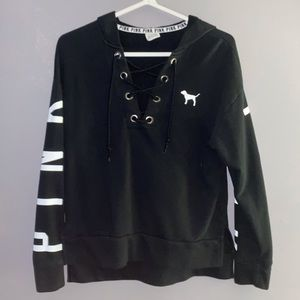 PINK VS black and white women's sweater